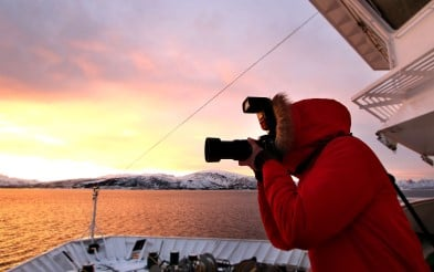 Photographer on MS Nordkapp in Norway