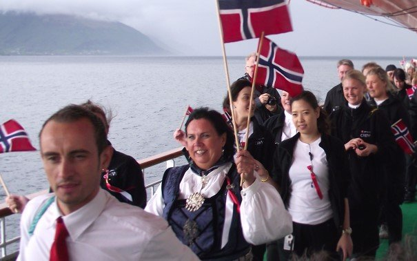 Celebrating 17th of May, Norway's national day. On board MS Nordlys.