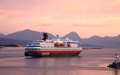 MS Nordnorge near Molde at sunset