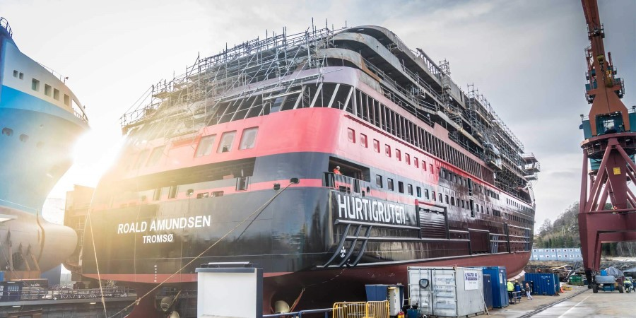 Named after famous explorer Roald Amundsen, our brand new expedition ship tested the waters of Ulsteinvik for the first time February 18th 2018.