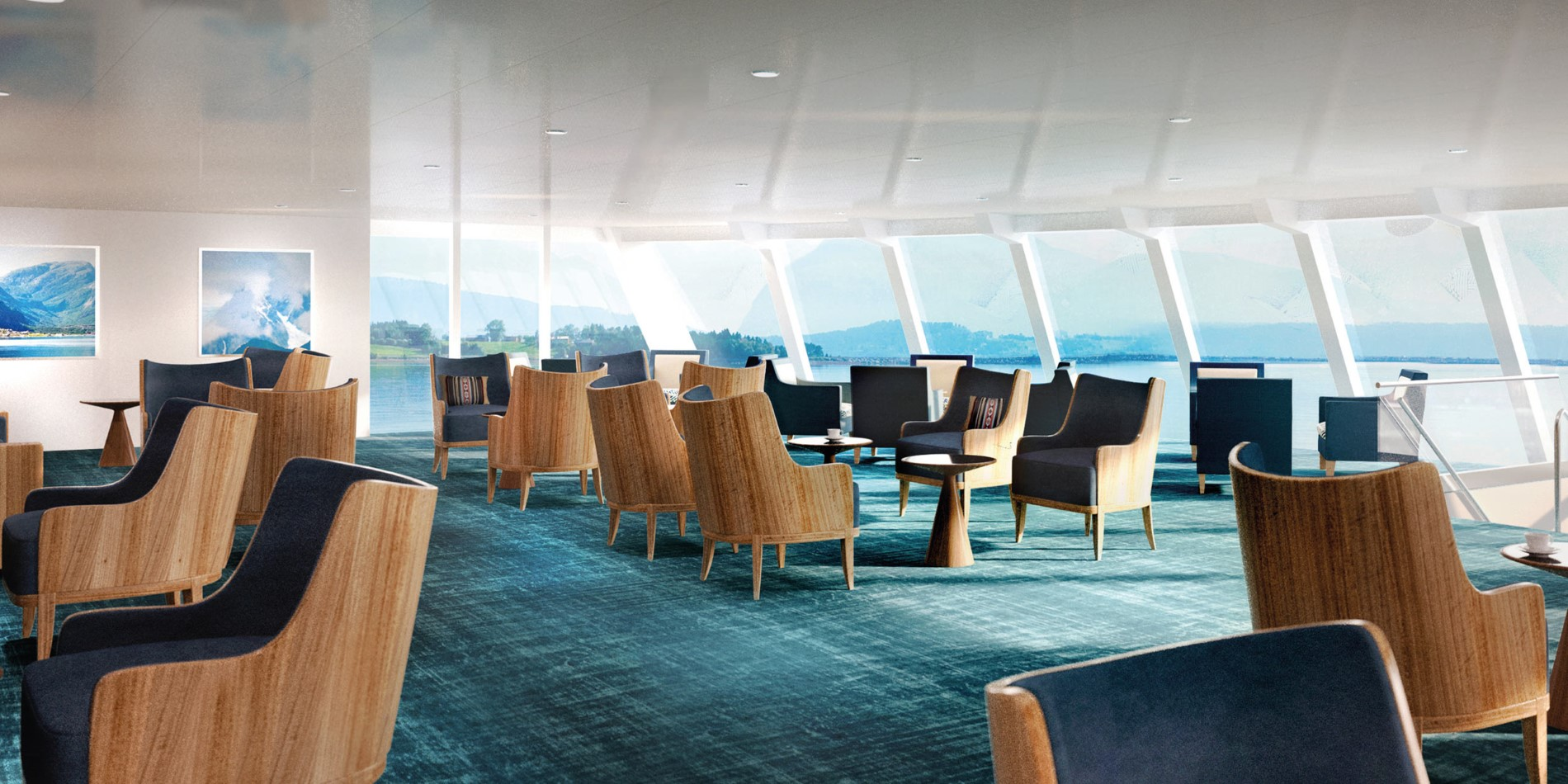Illustration: The lounge on board MS Spitsbergen.