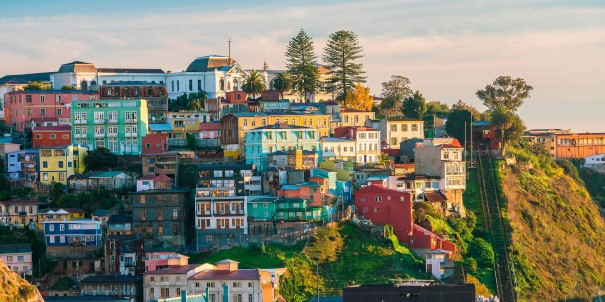Explore the colourful buildings of the UNESCO World Heritage city of Valparaiso, Chile.