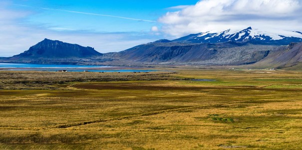 Snaefellsnesjokull Glacier, Iceland. Experience a variety of islands, towns and settlements, spectacular views and interesting sites, accompanied by our knowledgeable Expedition Team.
